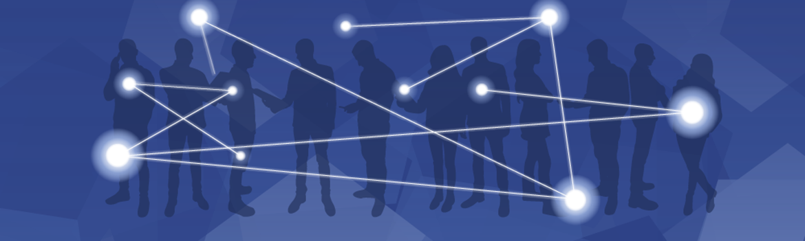 silhouettes of people connecting with each other on a dark blue ground